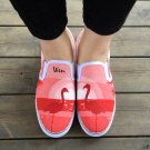 Wen Original Flamingo Bird Hand Painted Shoes Man Woman's Canvas Sneakers Slip on Flats