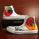 Colorful Rose Original Design Flower Hand Painted Shoes High Top Converse Chuck Taylor
