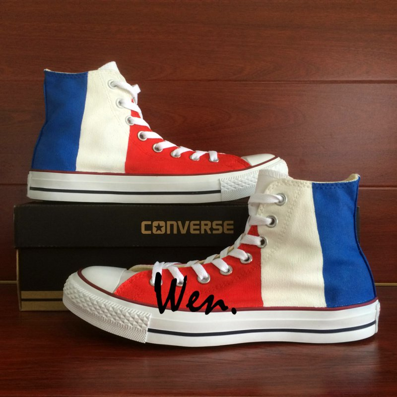 Design France Flag Hand Painted Shoes High Top Converse All Star Unisex Canvas Sneakers