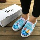 Wen Original Design Shoes Hand Painted Navigation Sailing Boat Ocean Men Women Canvas Sneakers
