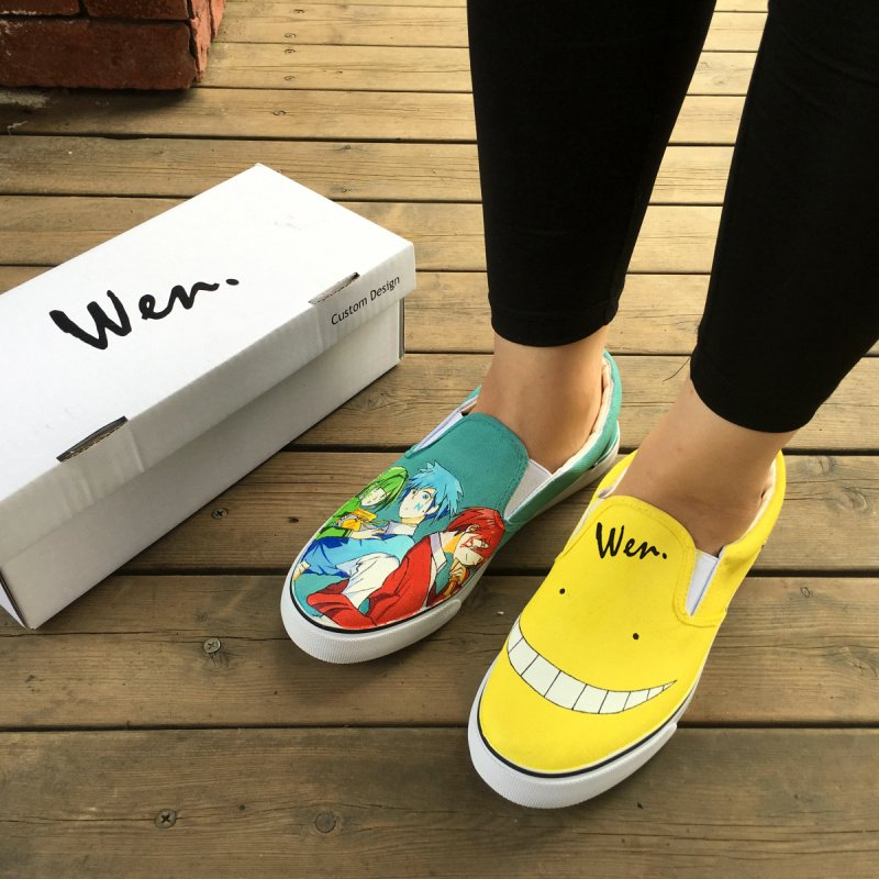 Wen Design Slip on Anime Assassination Classroom Hand Painted Shoes for Man Woman