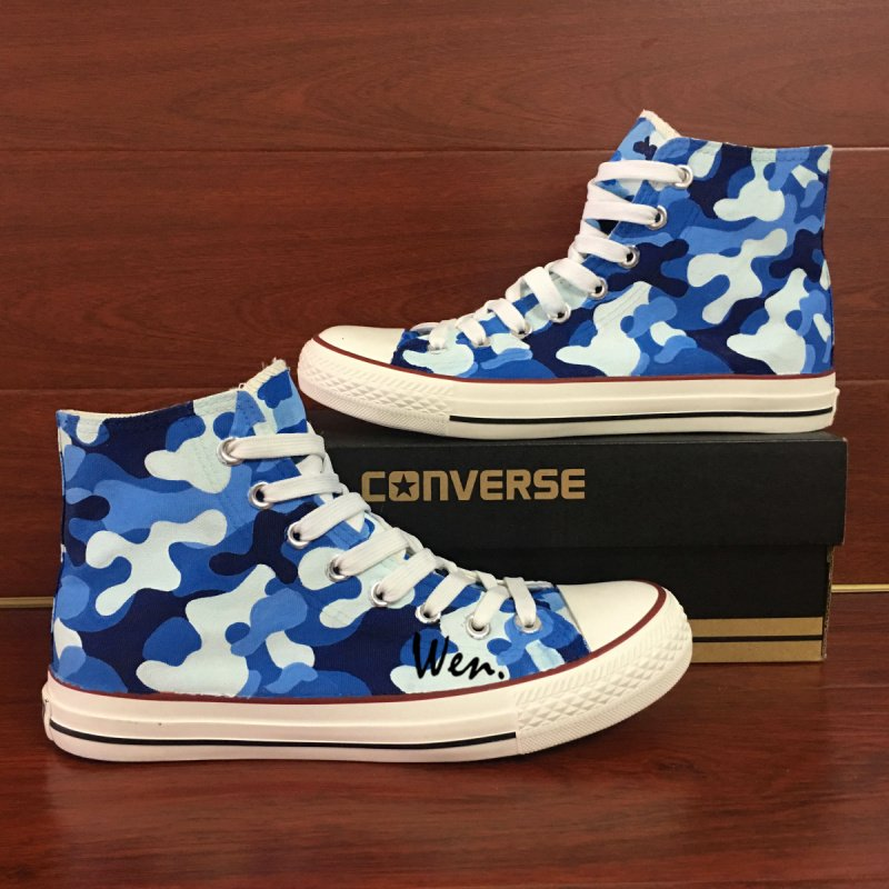 Custom Design Navy Camouflage Blue Patterns Converse Shoes Hand Painted Canvas Sneakers