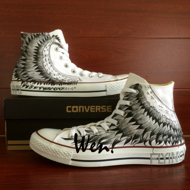 Original Design Wing Unisex Hand Painted Shoes High Top Converse Canvas Sneakers