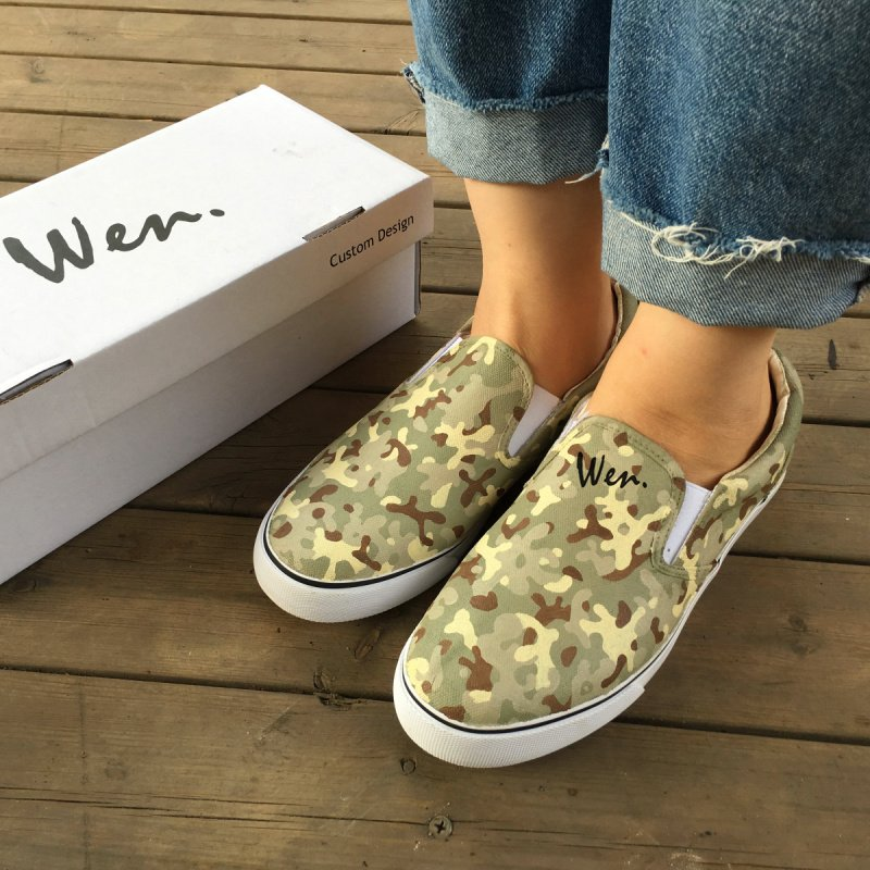 Wen Hand Painted Shoes Design Special Forces Camouflage Slip on Man Woman Canvas Sneakers
