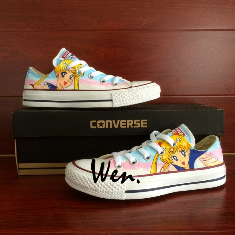 Low Top Hand Painted Shoes Design Anime Sailor Moon Converse All Star Unisex Canvas Sneakers