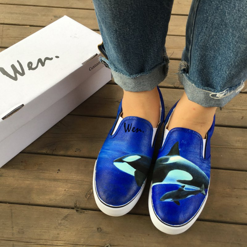 Wen Original Hand Painted Shoes Animal Whales Ocean Men Women Slip on Canvas Sneakers