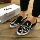 Wen Black Slip on Shoes Hand Painted Sailing Anchor Rudder Helm Original Design Canvas Shoes