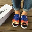Wen Unisex Canvas Sneakers Design Beautiful Galaxy Sky Sunset Travelling Mate Hand Painted Shoes