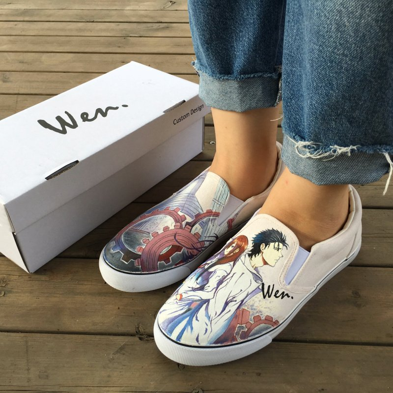 Wen Design Unisex Hand Painted Shoes Anime STEINS;GATE White Slip on Canvas Sneakers