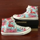 Original Design Pink Flamingo Palm Tree Flowers High Top Converse Hand Painted Canvas Shoes