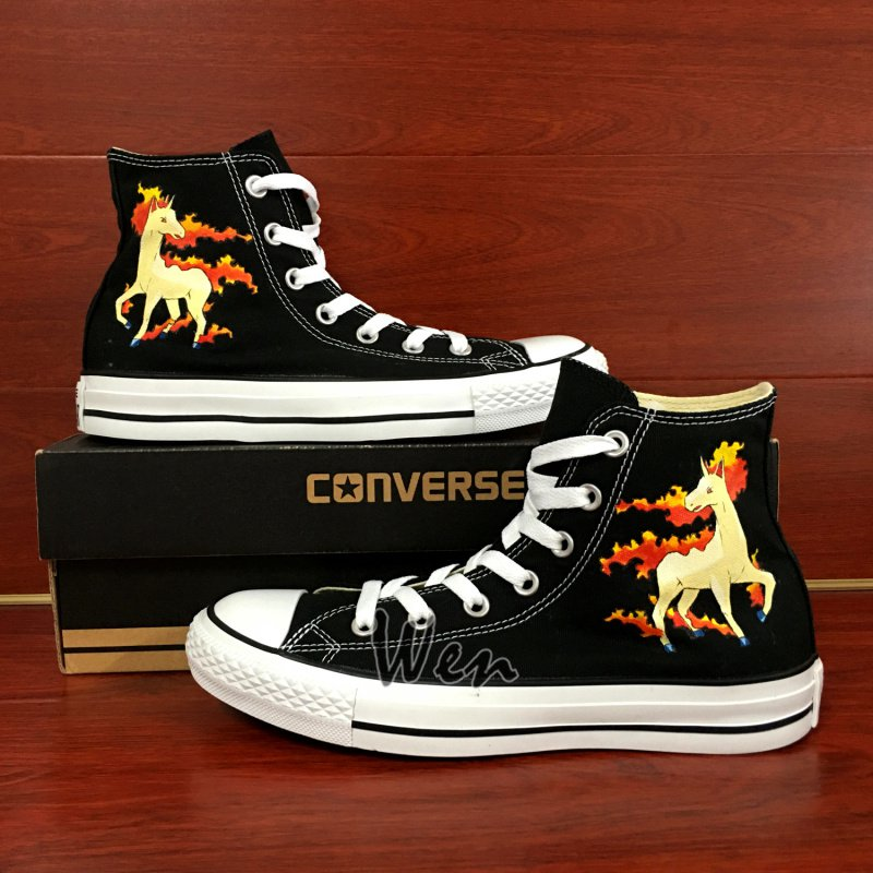 Design Anime Pokemon Rapidash High Top Converse All Star Shoes Hand Painted Canvas Sneakers