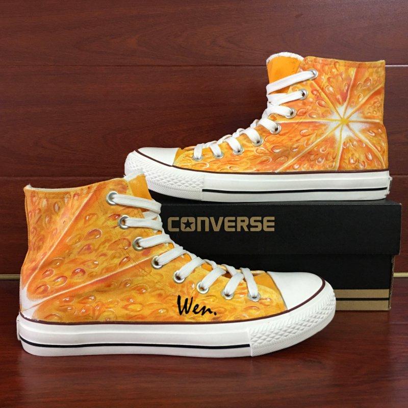 Unisex Converse Shoes Original Design Fruit Tangerine Flesh Hand Painted Canvas Sneakers