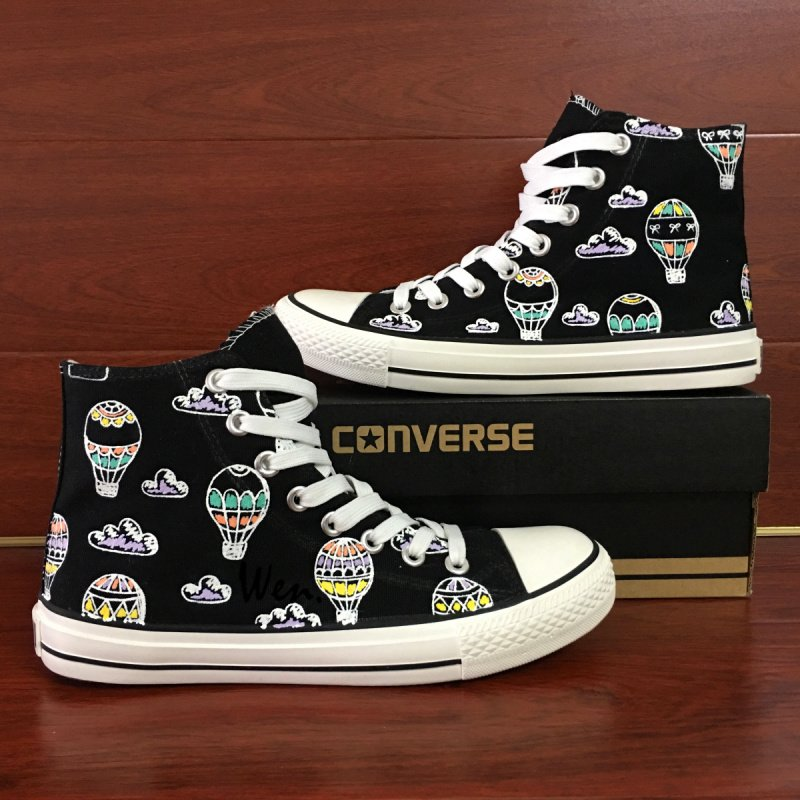 Original Design Hand Painted Canvas Sneakers Fire Balloons Clouds Black High Top Converse Shoes