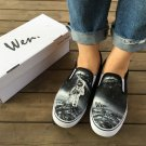 Wen Design Moon Outer Space Spaceman Astronaut Hand Painted Canvas Shoes