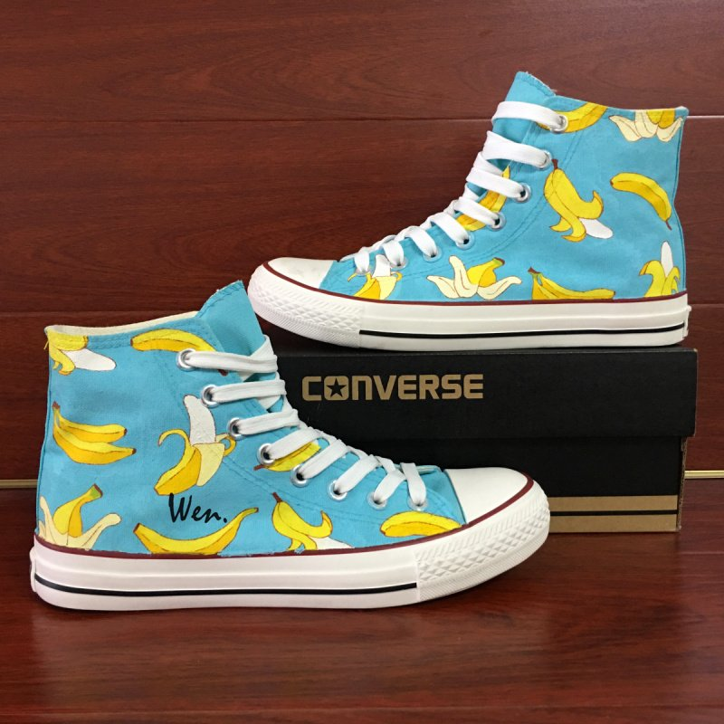 Original Design Fruit Bananas Converse All Star Shoes Unisex Hand Painted Canvas Sneakers