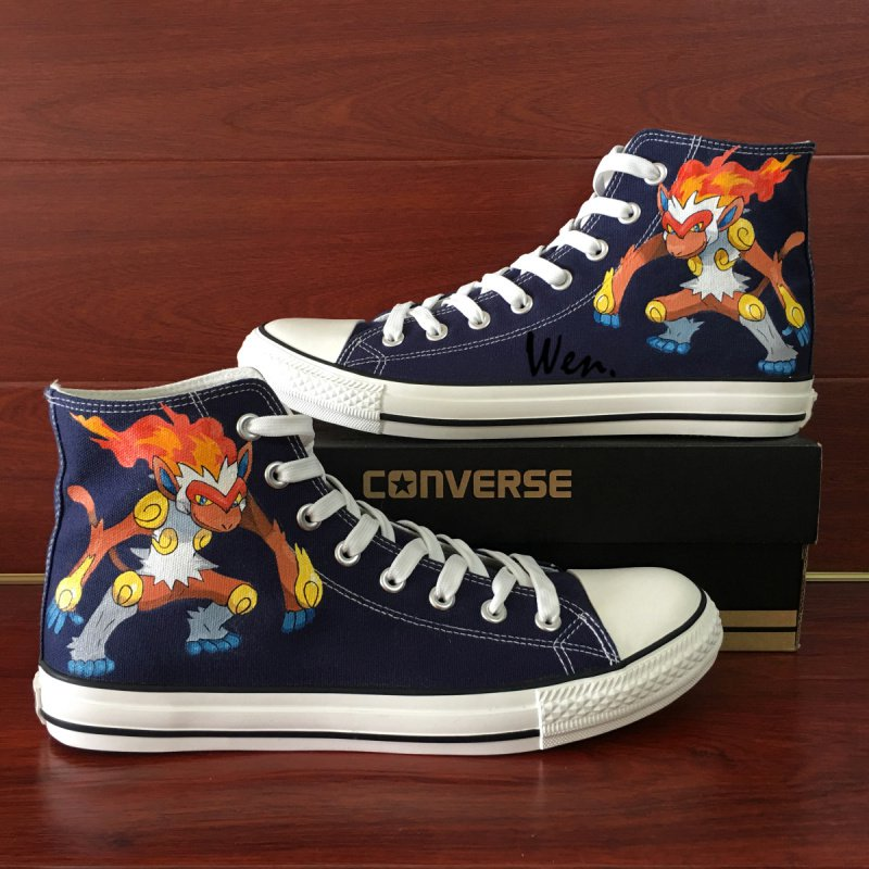 Hand Painted Shoes Anime Converse Design Pokemon Infernape Blue Canvas Sneakers