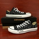 Original Design Hand Painted Canvas Shoes Music Notes Black Low Top Converse All Star