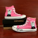 Custom Design Cute Cat Flowers on Head Hand Painted Canvas Shoes Pink Converse