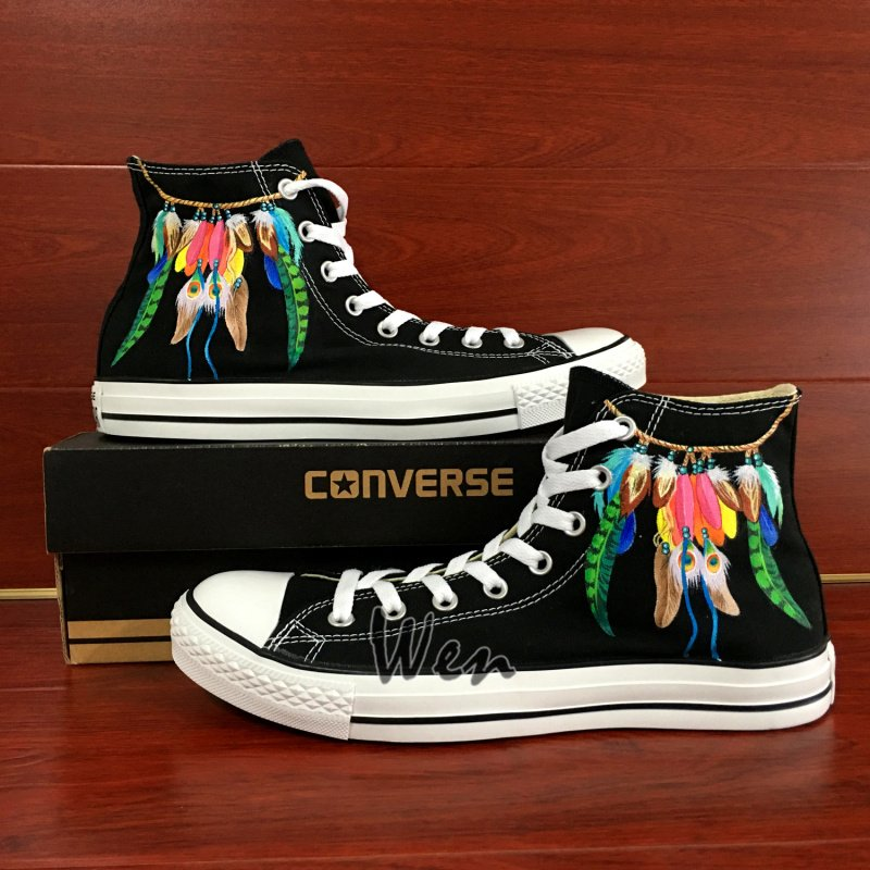 Hand Painted Converse Shoes Design Indian Style Feather Dreamcatcher Canvas Sneakers