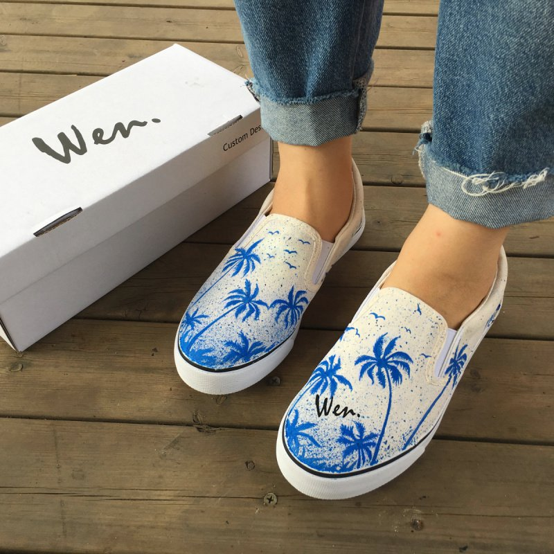 Wen Design Slip on Shoes Hand Painted Blue Coconut Palm Tree Unisex Canvas Sneakers