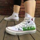 Butterflies Flowers Grass Custom Hand Painted Canvas Shoes Unisex High Top Converse All Star