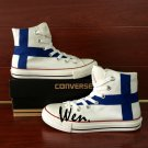 Chuck Taylor All Stars Finland Flag Converse Shoes Hand Painted Canvas Sneakers for Men Women