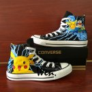 Anime Converse Hand Painted Shoes Pokemon Ash Pikachu Sneakers for Men Women High Top All Star