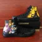 Men Women Shoes Hand Painted Naruto Sasuke Canvas Sneakers High Top All Black Converse All Star