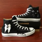 Men Women Converse All Star Shoes Hand Painted Cat Suit Black Fashion Sneakers High Tops
