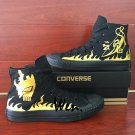 All Black Converse Chuck Taylor Shoes Men Women Canvas Sneakers Design Naruto Gold Fire
