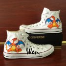 White Converse Hand Painted Canvas Shoes Anime Pokemon Charizard Unisex Sneakers