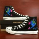 Anime Shoes Hand Painted Fairy Tail Logo Converse All Star Unisex Black Canvas Sneakers