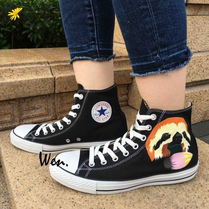 4b11f6e040a17f Men Women Custom Converse All Star Sloth Hand Painted Shoes Black Canvas  Sneakers Christmas Gifts
