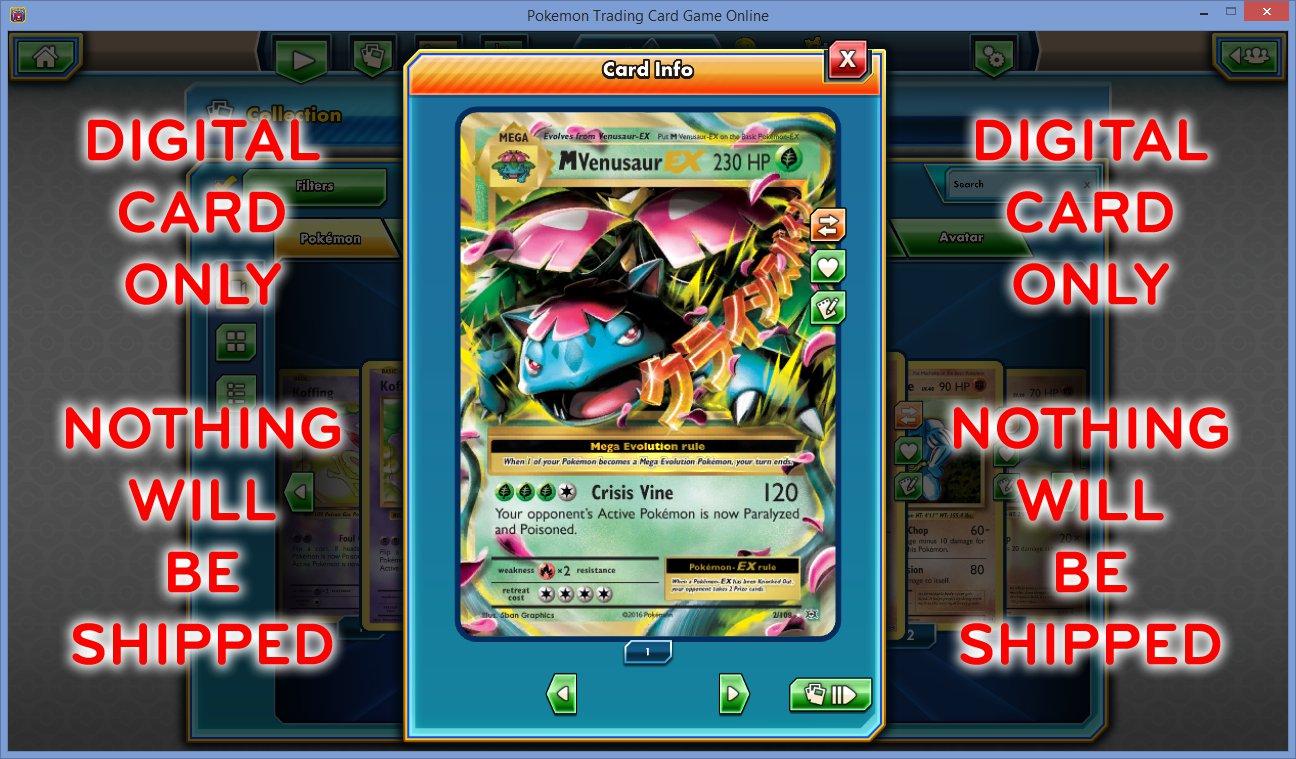 M MEGA VENUSAUR EX 2/108 Ultra Rare Holo NEW Pokemon XY Evolutions Set TCGO TCG Online