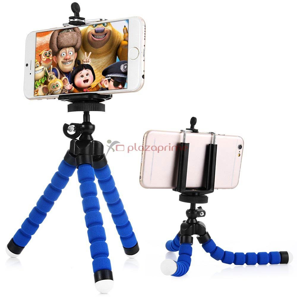 Octopus adjustable tripod holder Universal cell phone with mounting adapter Blue