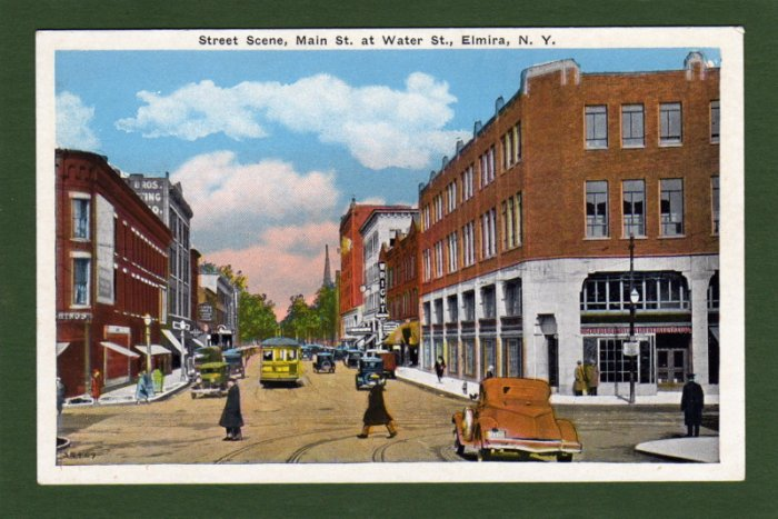 Postcard~NY~Elmira~Main St at Water St~ca.1920