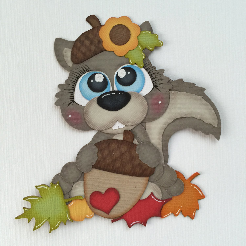 "Paper Pieced Die Cut ""Autumn Squirrel"" Embellishment"