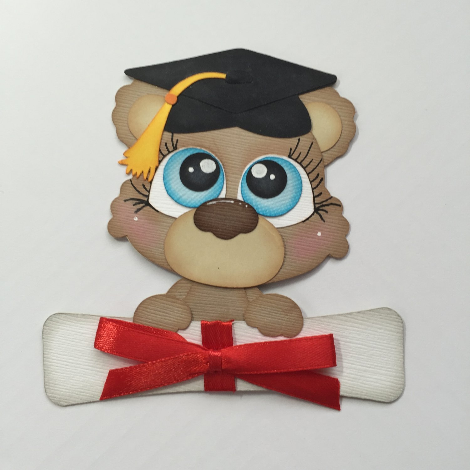 "Paper Pieced Die Cut ""Graduate Bear"" Embellishment"