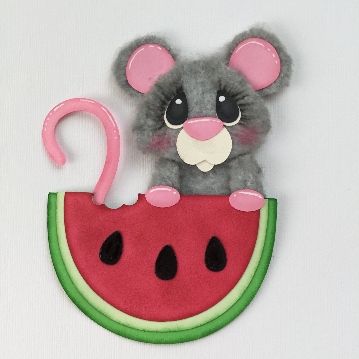 "Paper Pieced & Fleece Die Cut ""Watermelon Mouse"" Embellishment"