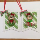 Paper Pieced Die Cut Holiday Gift Tags - Set of 2