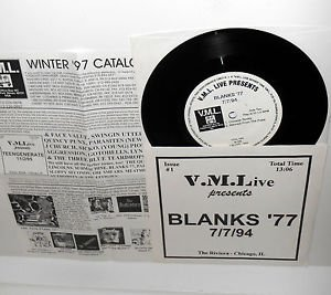 "BLANKS 77 live at the fireside bowl 7"" Vinyl Record vml live 07/07/1994"