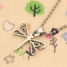 DRAGONFLY Women's Stainless Steel Hollow Design Pendant Sweater Necklace GIFT-O