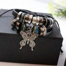 NEW Jewelry Fashion Infinity Leather Charm Bracelet Silver lots Beads Style-W