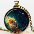 WOMEN'S FASHION Vintage Galaxy Cabochon Bronze Glass Chain Pendant Necklace-D62