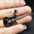 New Gift Unisex Stainless Steel FASHION Golden Guitar Pendant Chain Necklace-O