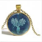 WOMEN'S GIFT Vintage Snowflake  Cabochon Bronze Glass Chain Pendant Necklace-V