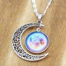 WOMEN'S FASHION pretty moon pendant galaxy hot sell fashion necklace chain - N