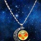 WOMEN'S Stylish HOT Galaxy Universe Crescent Moon Round Pendant Necklace GIFT -L