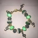 GREEN European Murano Glass Bead Charm Bracelet Crystal Women Jewelry-17 CM - G