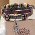 MUSICAL NOTE WOMEN'S Jewelry Charm bracelets with beads silver metal fittings-V